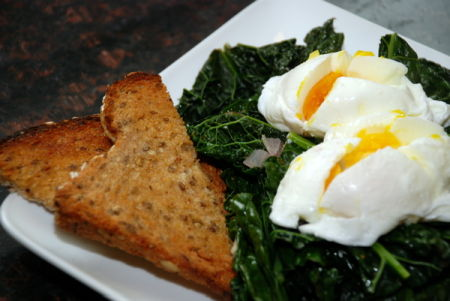 Poached Eggs and Kale