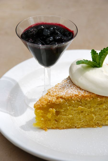 Dairyfree Golden Lemon Cake with Blueberry Sauce