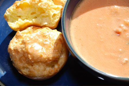 Tomato Soup and Blue Cheese Popovers